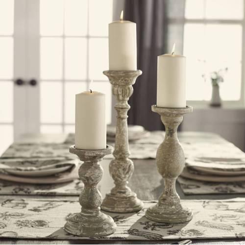 Upscale Aged Grey Candlesticks Pieces Farmhouse Decor To Use All Around House Vintage Farm Home Decor