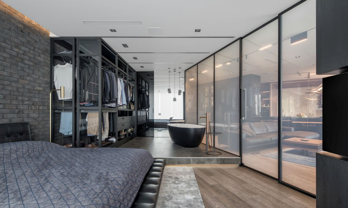 Studio Apartment Partition A Modern Bachelor Pad With Smart Glass Space Dividers