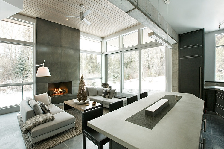 Black And White Wallpaper Bedroom Ideas Unusual Winter Retreat Featuring Exposed Concrete And Huge
