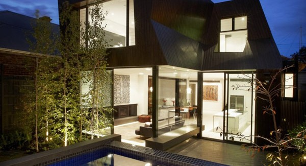 L Shaped Swimming Pool Mix Of Styles In Enclave House By Bkk Architects In