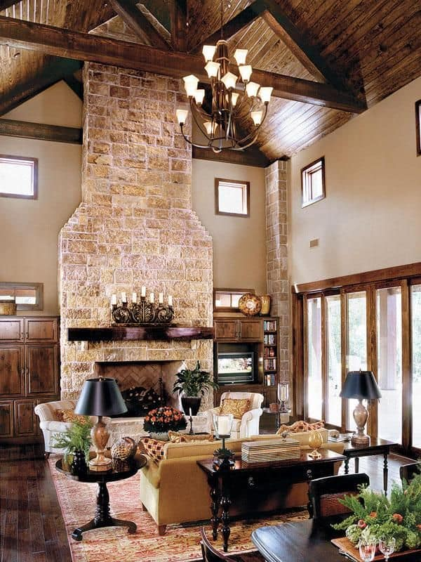 Houzz Om 38 Rustic Country Cabins With A Stone Fireplace For A