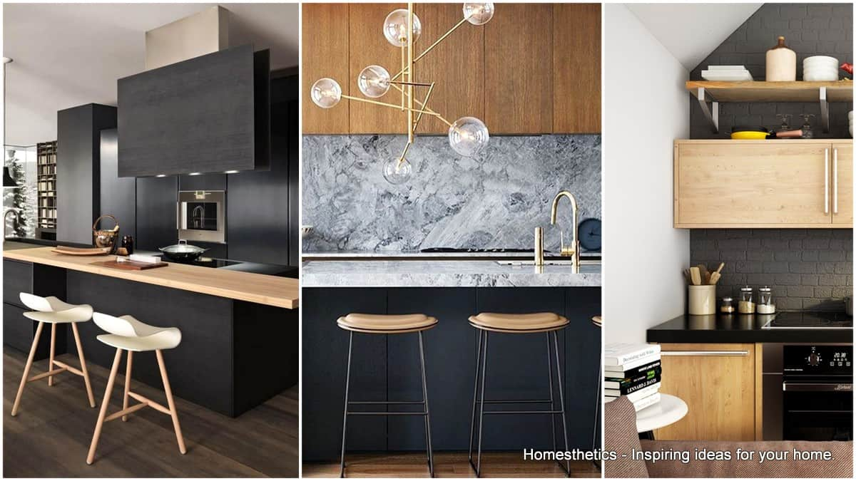 Black Design For Kitchen Outstanding Black And Wood Kitchens That Will Add Style To Your Home