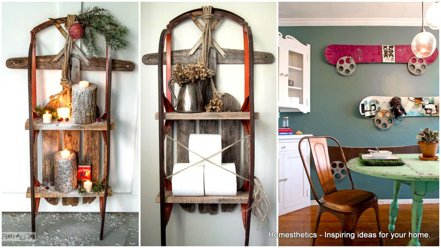 In Home Decorations 19 Winter Home Decorations Re Purposing Sleighs Skis Snowboards