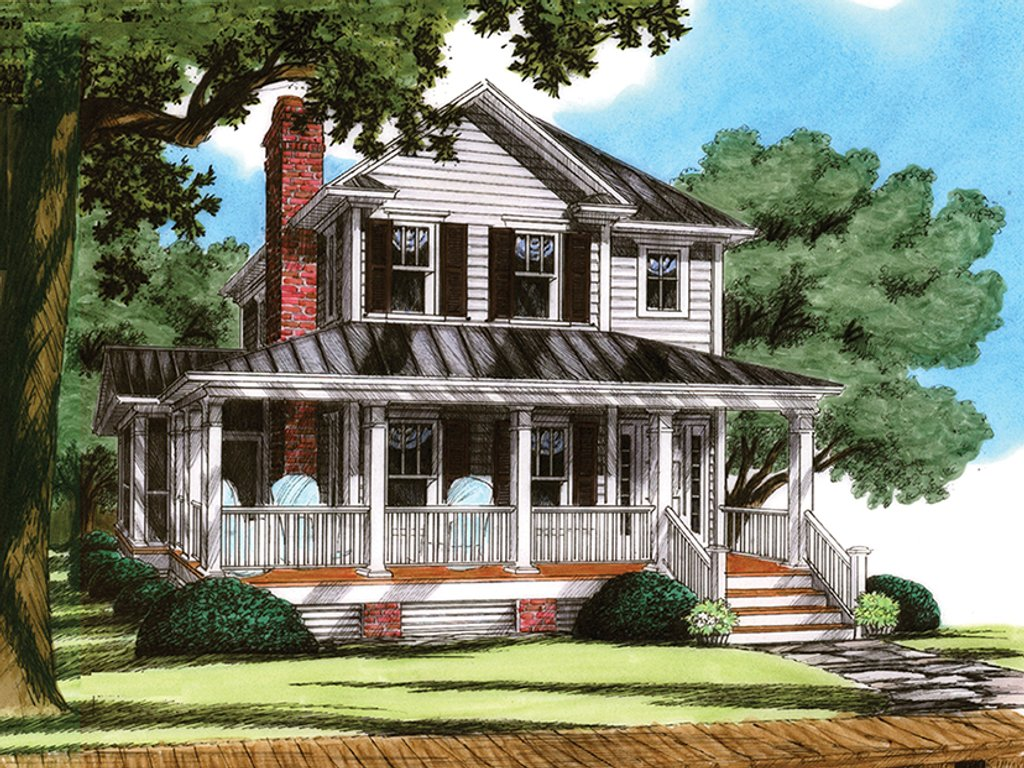 Narrow Farmhouse Exterior Traditional Style House Plan 4 Beds 3 Baths 1816 Sq Ft