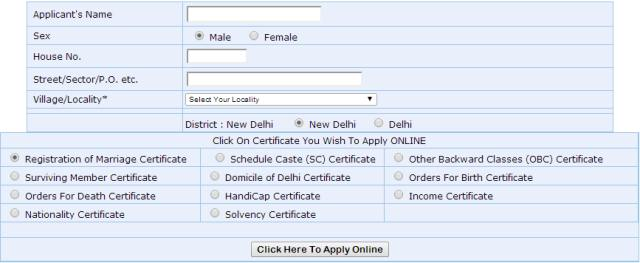 How to get Certificates Online in Delhi - Birth, Marriage, Income - income certificate form