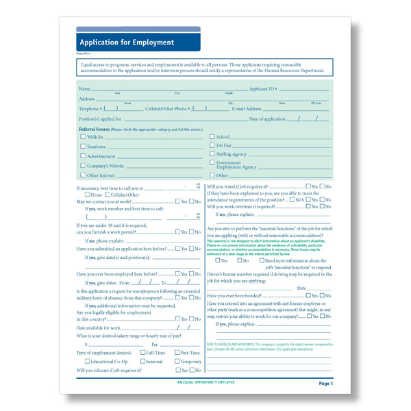 Blank 50 State Compliant Job Employment Application Long Form HRdirect - employment application forms