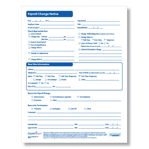 Payroll Change Form for Documenting Employee Payroll Changes - employee change form