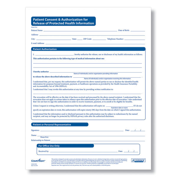 HIPAA Patient Consent  Authorization For Release of PHI - Medical Information Release Form