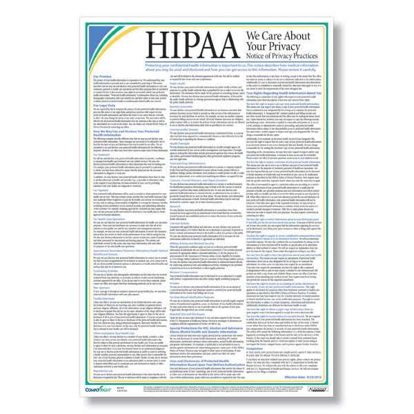 HIPAA Notice of Privacy Practices Poster - hipaa form