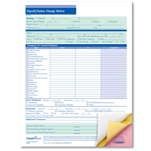 Payroll Change Form with Carbonless Copies for Easy Routing - employee change form