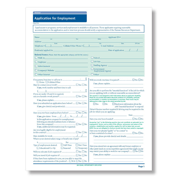 State-Compliant Printable Job Application Forms - PDF Format - printable job application form