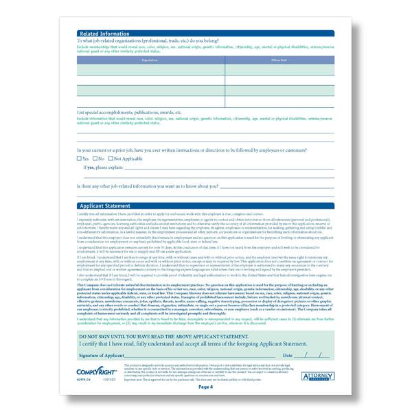California State-Compliant Job Application
