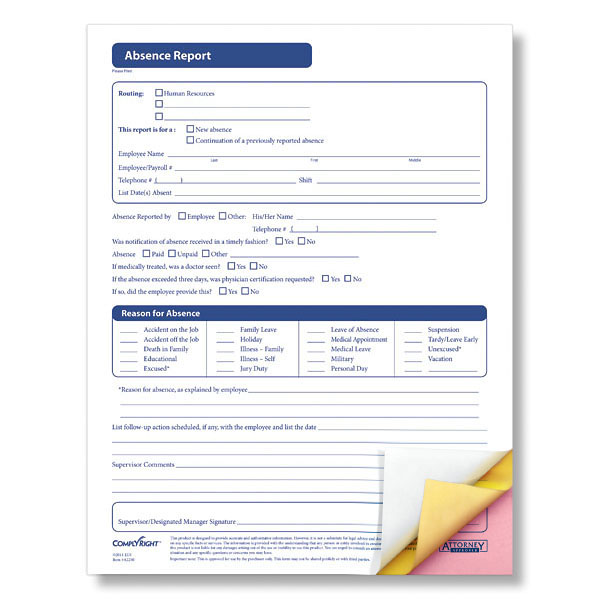 Absence Report Form Accurately Documents Employee Absences