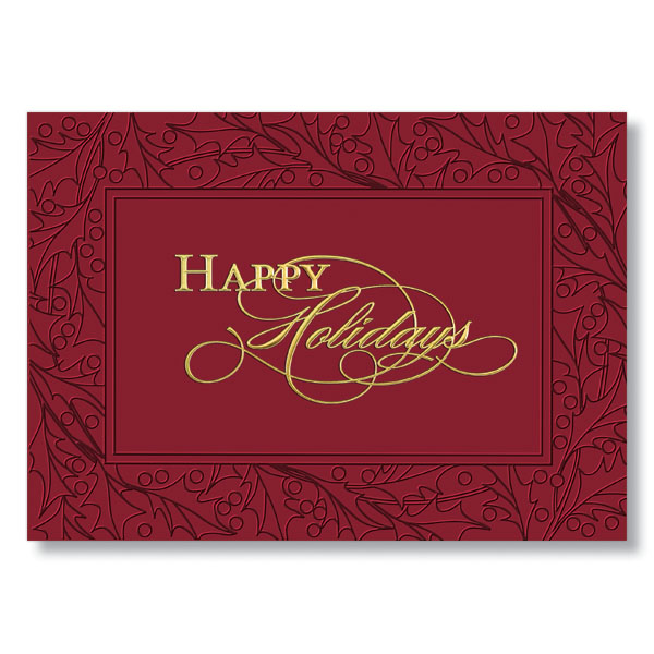 Holly Framed Happy Holidays Holiday Card Greeting Cards at HRdirect