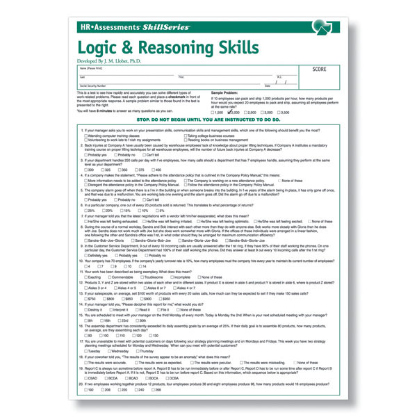 Logic  Reasoning Test for Pre-Employment