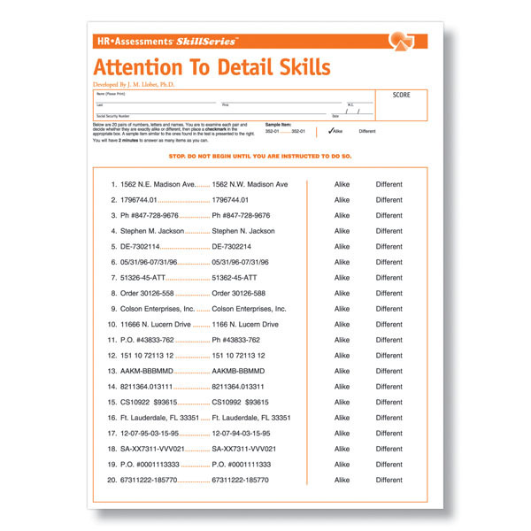 Attention to Detail Test Employment Tests