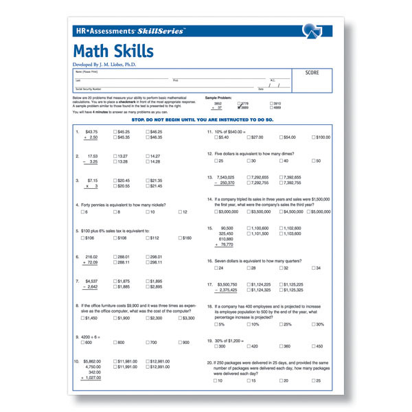 Workplace Math Skills Online Test for Pre-Employment Testing