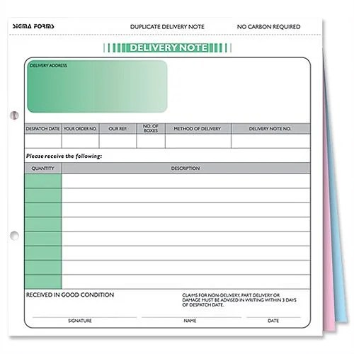 Delivery Note Form 3 Part Set 207x220mm SD3 Pack 50 Sigma - dispatch note template