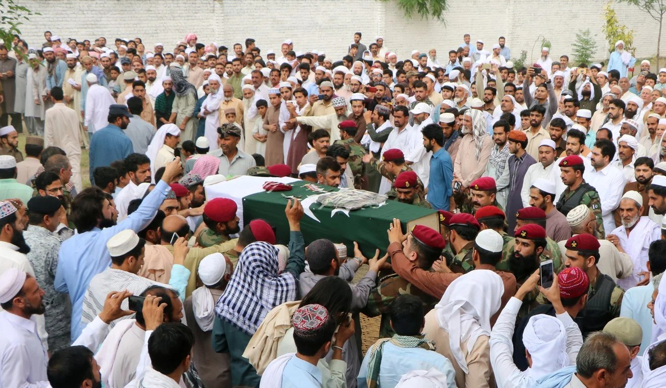 The funeral of naval soldier, Abbas Khan, who was killed after separatist insurgents attacked a luxury hotel in the port city of Gwadar. Photo: Reuters