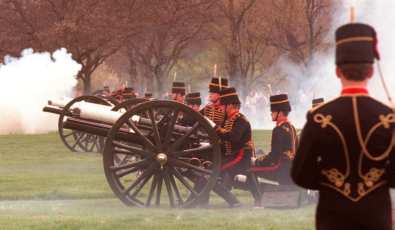 Gunners from Britain's Royal Artillery regiment pictured firing a 41-gun salute in London's Hyde Park to celebrate the 72nd birthday of Queen Elizabeth in 1998. Photo: AP