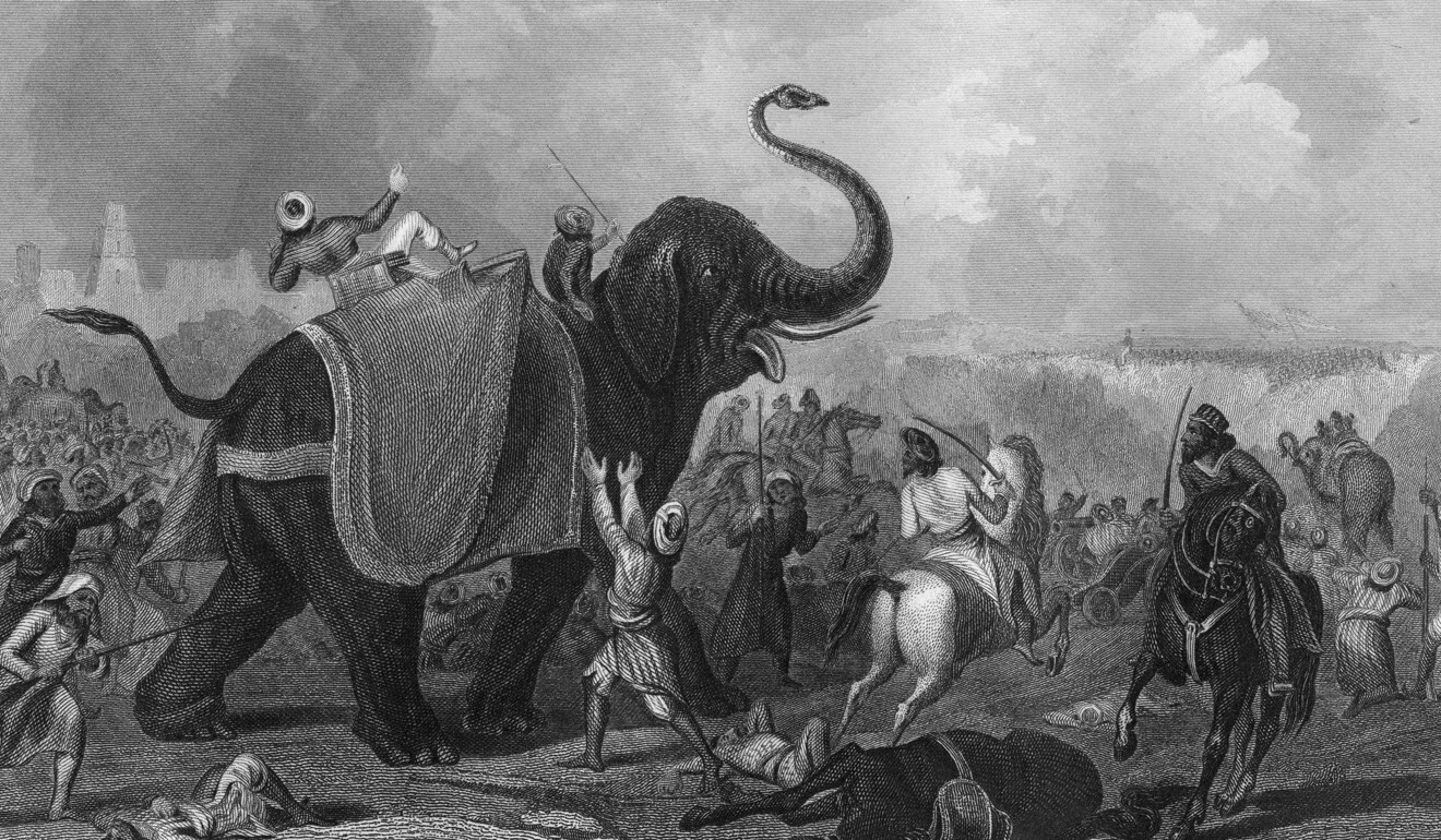 """A print published in 1857 depicting """"The Siege of Mooltan"""" (Multan) and an elephant being struck by a cannonball. Photo: The Print Collector/Print Collector/Getty Images"""