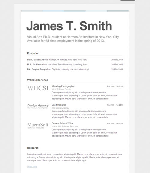 how to set up a resume for a job