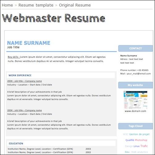 webmaster resumes - Josemulinohouse