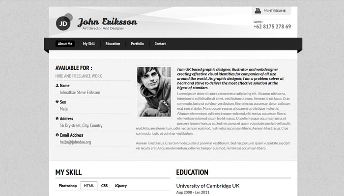20 Creative Resume Website Templates to Improve Your Online Presence - resume designer online