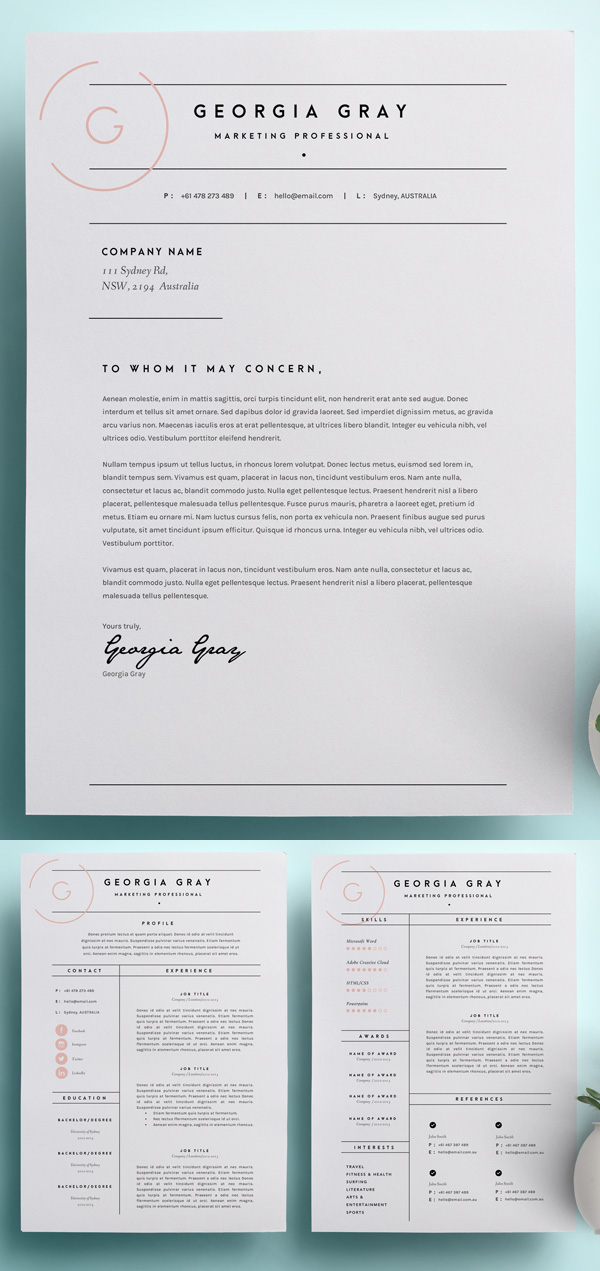 18 Professional CV / Resume Templates and Cover Letter - iDevie - professional cv template