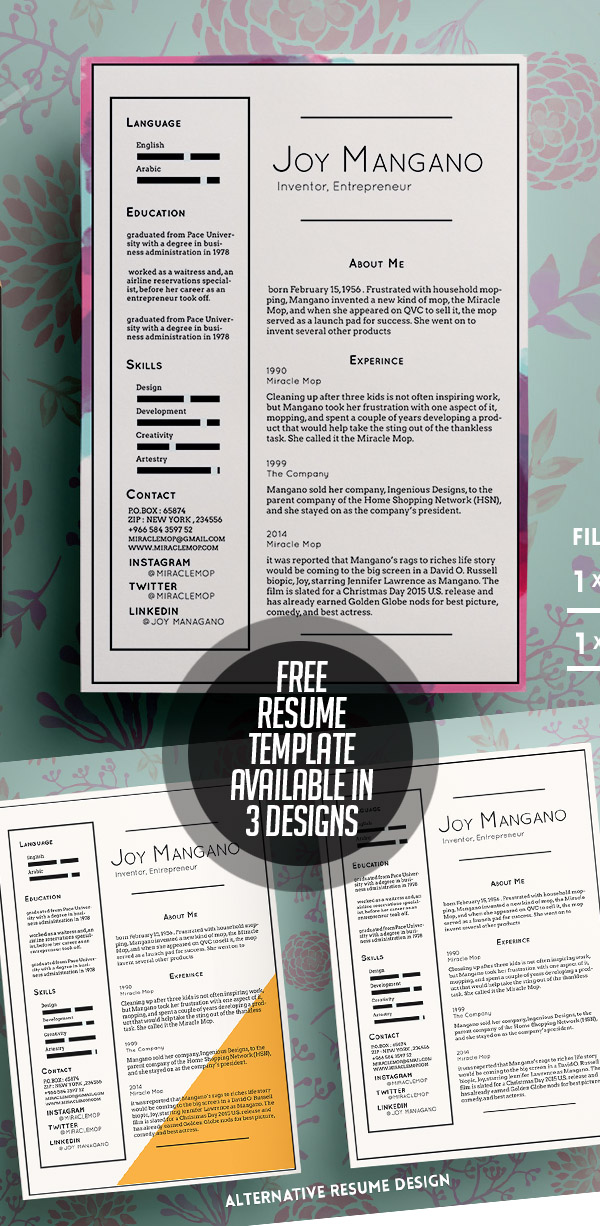 20 Free CV / Resume Templates 2017 with Cover Letter  Portfolio