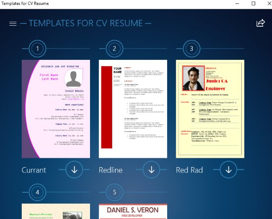 template cv windows