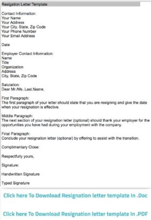 7 Free Websites to Write Simple Resignation Letter - simple resignation letter template