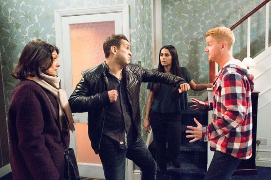 Coronation Street Kal Punches Gary After Catching Him