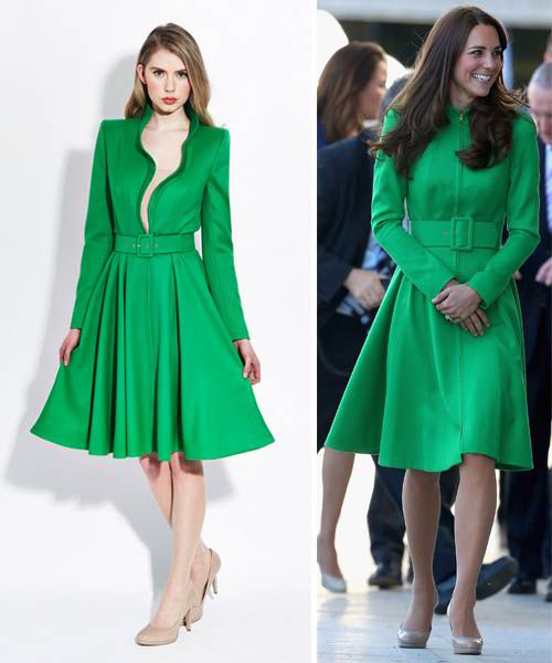 Kate middleton wears green catherine walker coat dress on final leg of