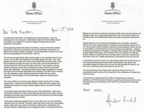 Amber Rudd quits Why did Amber Rudd resign? Resignation letter here