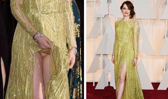Oscars 2015 Emma Stone Accidentally Flashes Nude Knickers