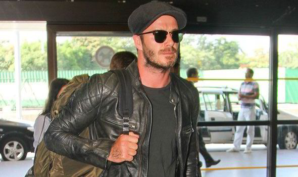 David Beckham Looks Stylish In Leather Biker Jacket As He