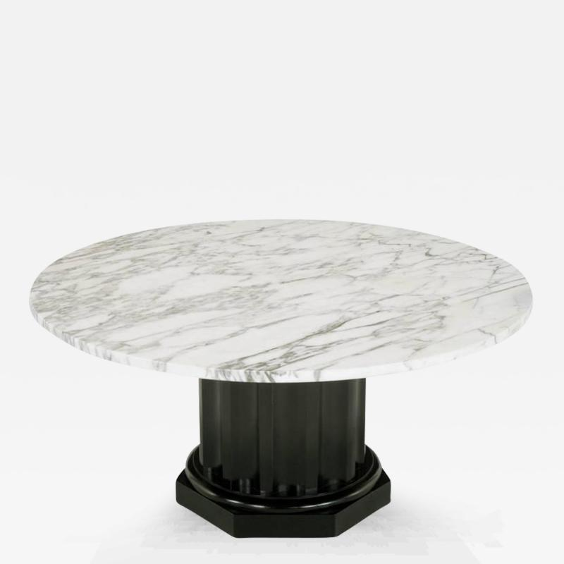 Finn Juhl White Carrara Marble Coffee Table With Ebonized Fluted ...