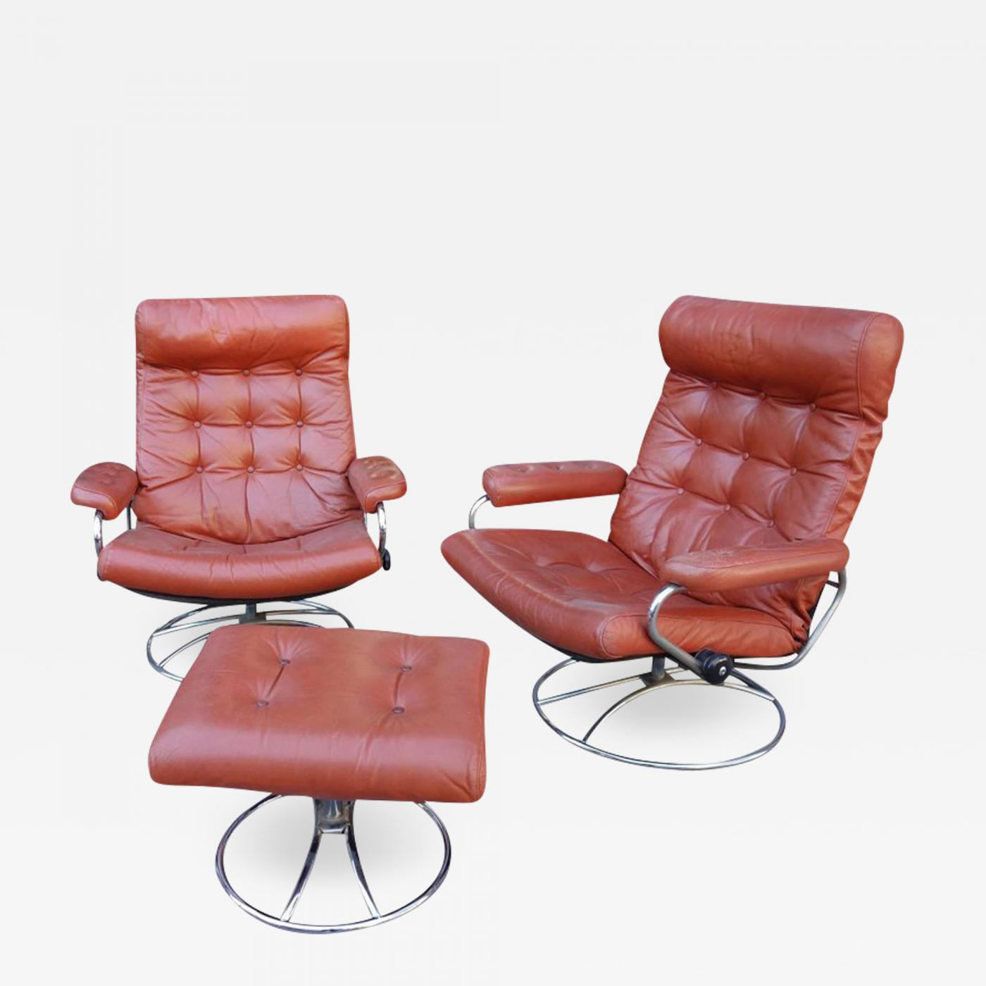 Stressless Sofa Dealers Ekornes Stressless Midcentury Reclining Stress Less Lounge Chairs And Ottoman By Ekornes