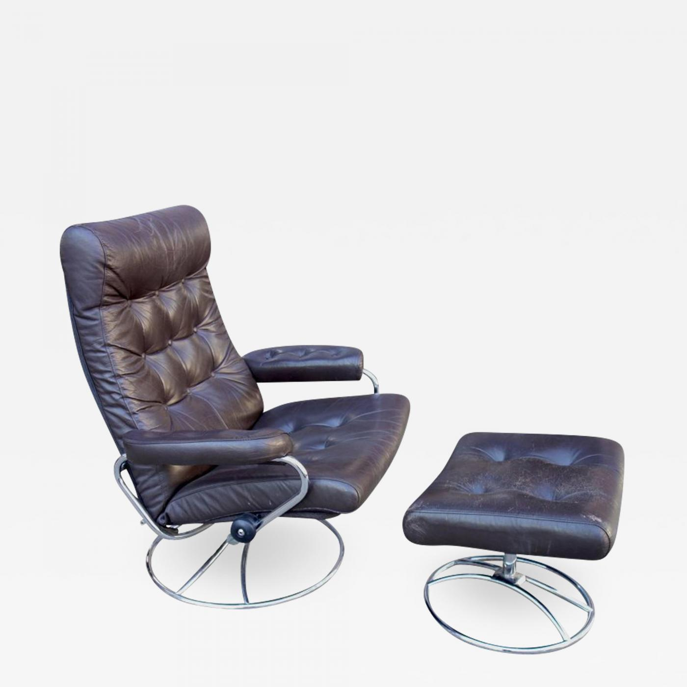 Ekornes Stressless Ekornes Stressless Midcentury Reclining Stressless Lounge Chair And Ottoman By Ekornes
