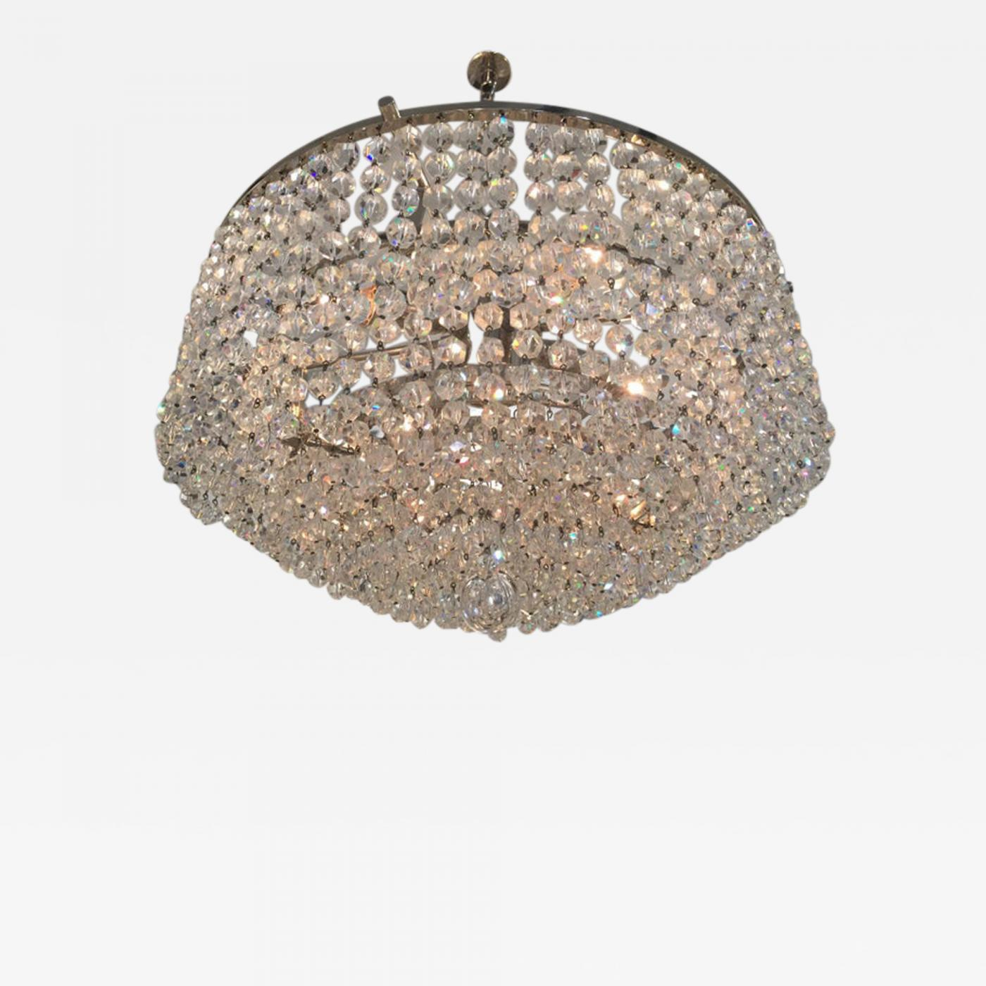 Lewis Strauss Sons Petite Strauss Austrian Crystal Nickel Finish Waterfall Chandelier