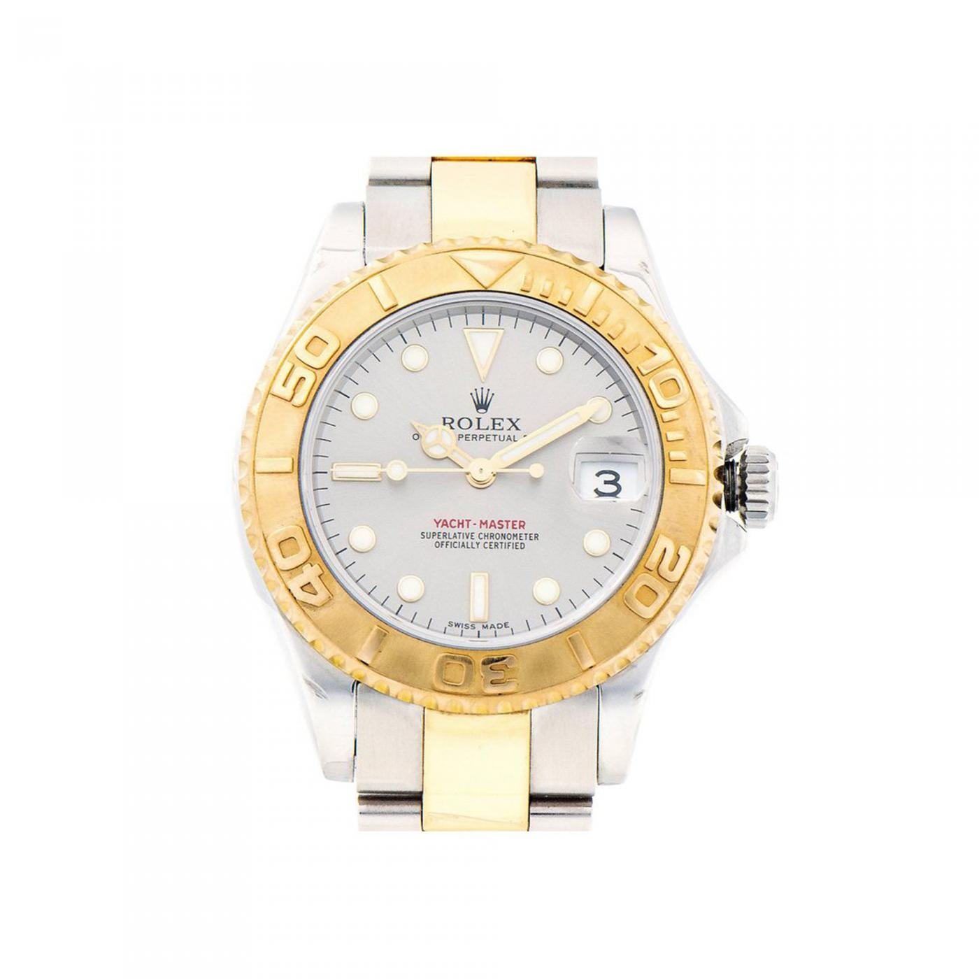 Stainless Rolex Rolex Rolex Yellow Gold Stainless Steel Platinum Dial Midsize Yachtmaster Wristwatch