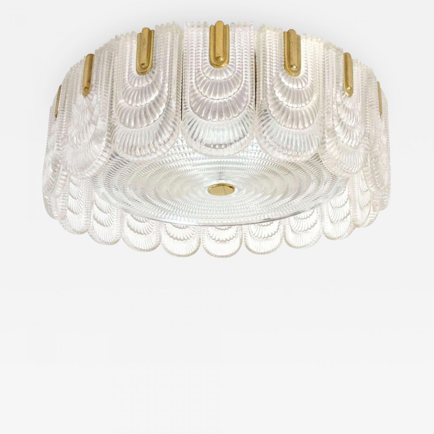 Leuchten Kaiser Kaiser-idell / Kaiser Leuchten /kaiser & Co. - Brass And Glass Light Fixture By Kaiser Leuchten, Germany, C. 1940s