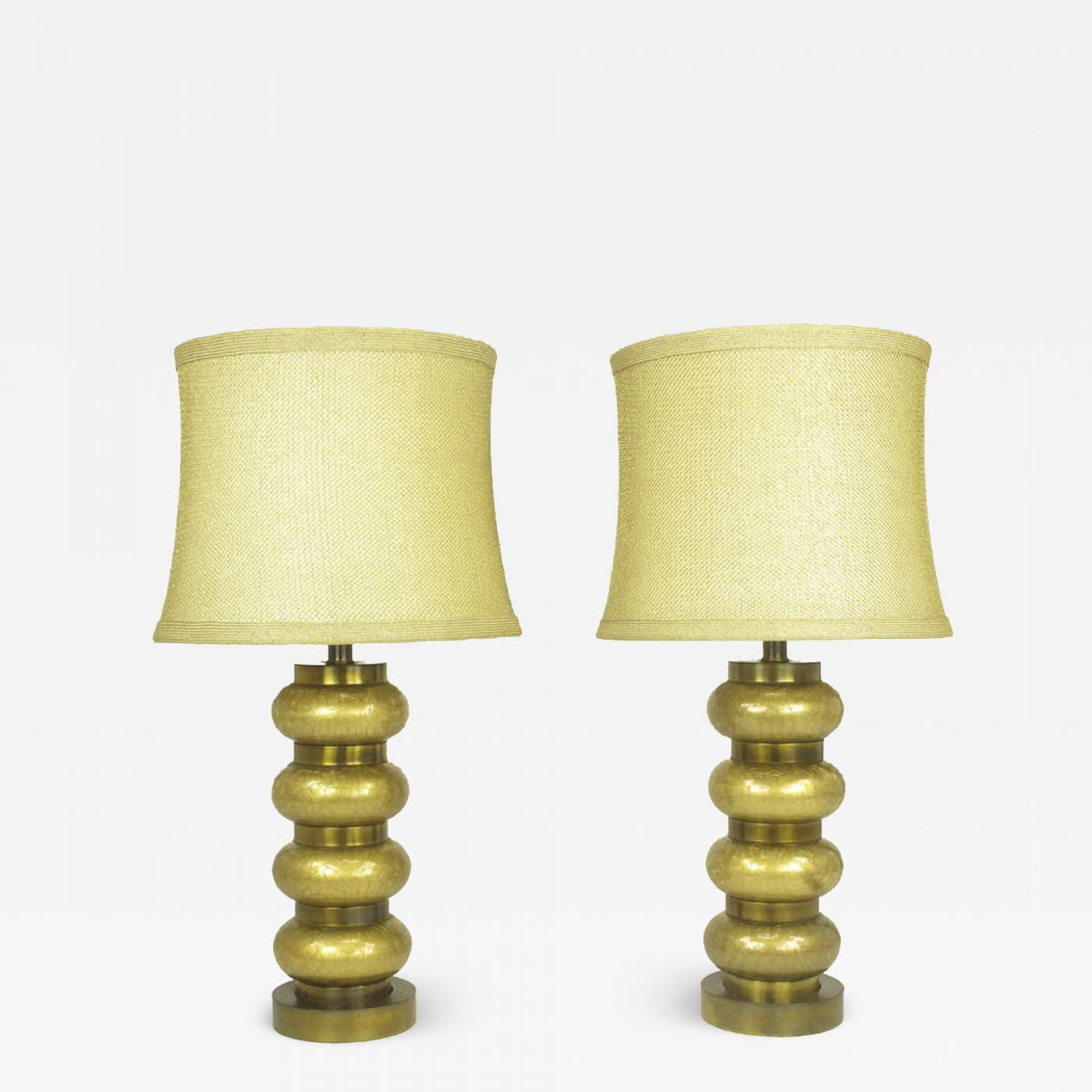 Glass Crackle Lamp Paul Hanson Pair Of Paul Hanson Reverse Gilt Crackle Glass And Brass Table Lamps