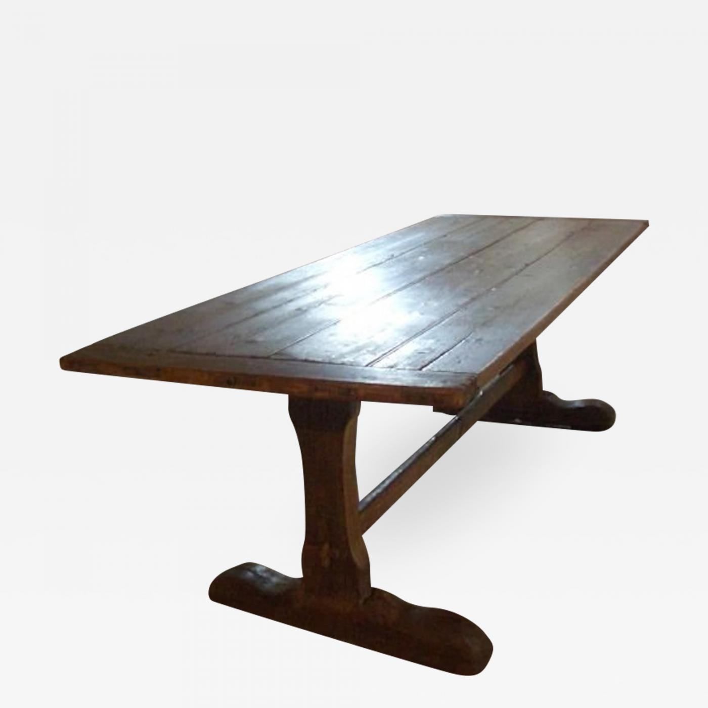 Children's Trestle Table 18th Cent Early American Rustic Pine Trestle Table