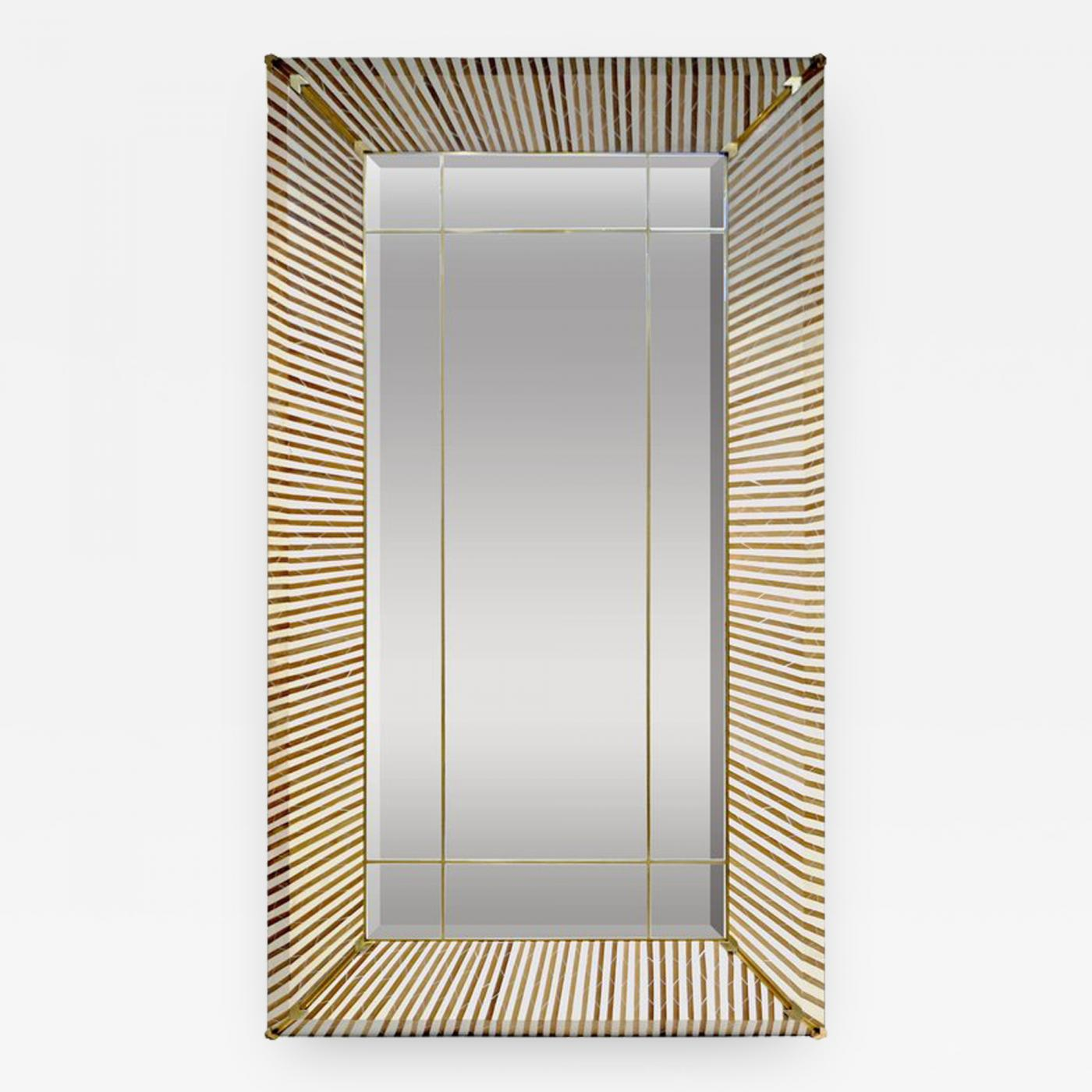 White Floor Mirror 1990 Italian Geometric White Brown Bamboo Wood Floor Mirror With Brass Accents