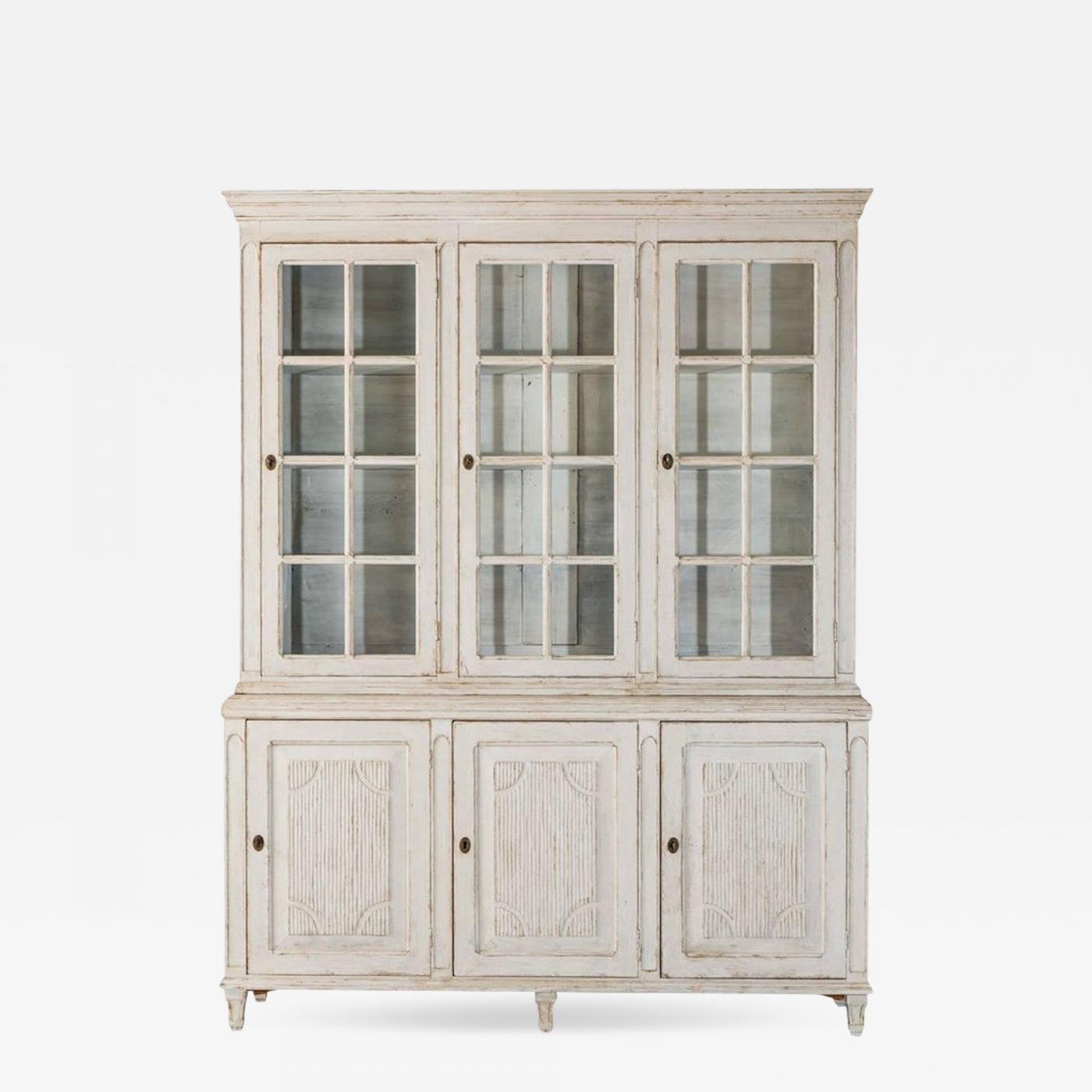 Vitrine Stahl 19th Century Swedish Gustavian Three Door Glass Vitrine Bookcase Cabinet