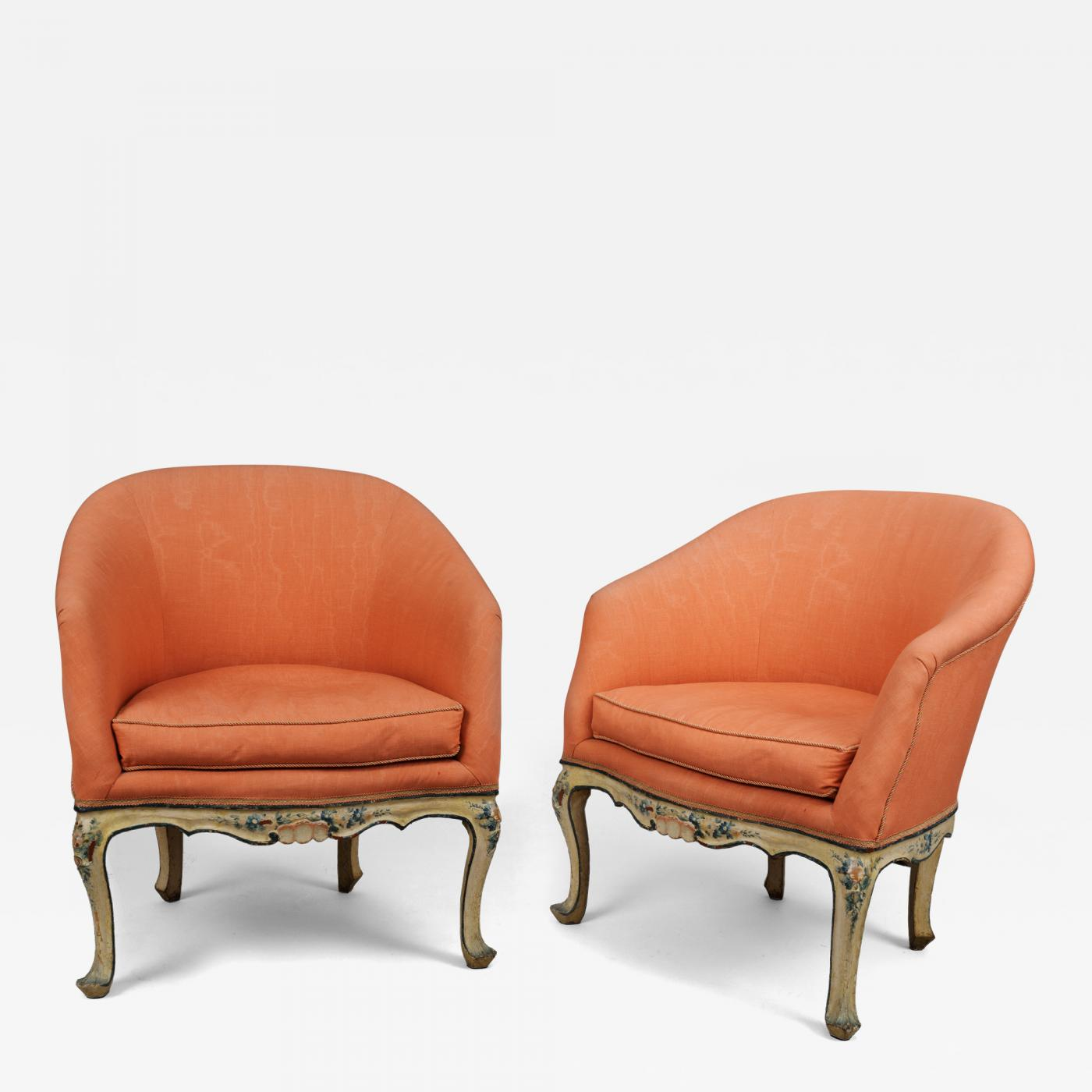 Poltrone A Pozzetto A Pair Of Painted Wood Tub Chairs Poltrone A Pozzetto
