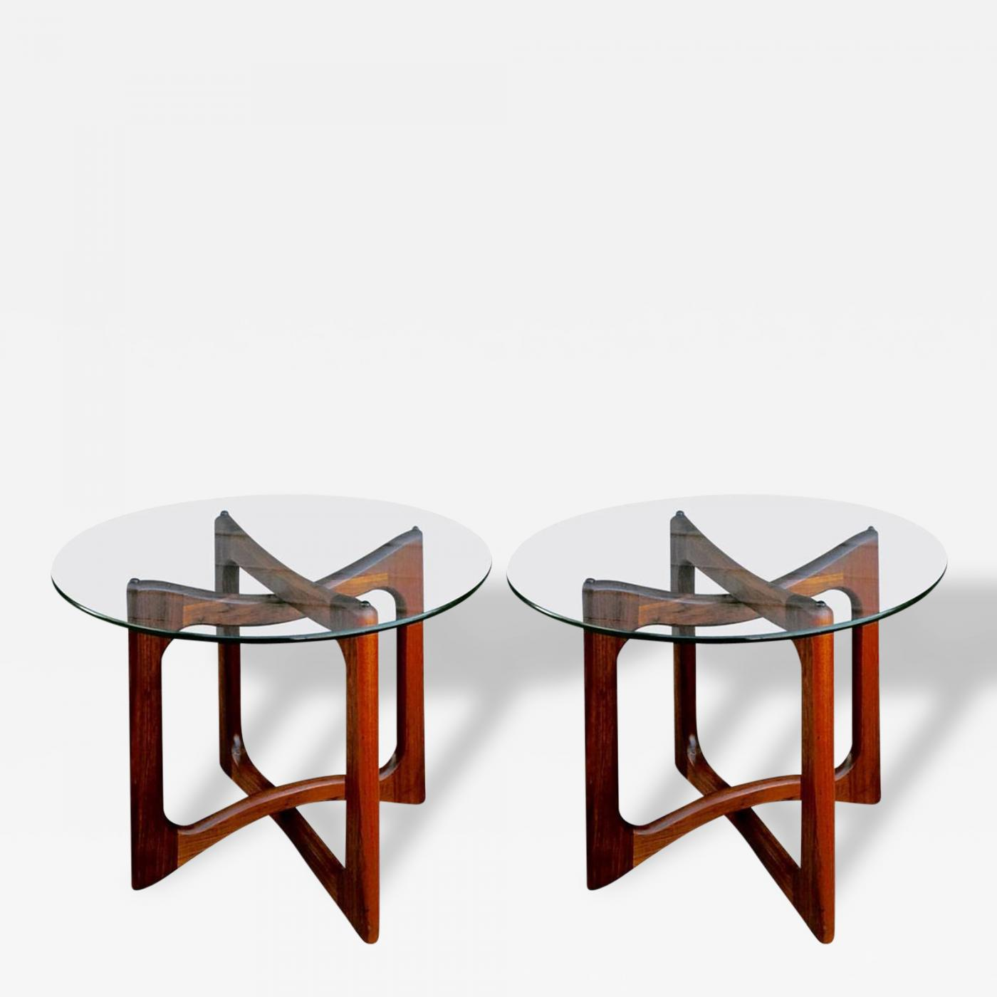 Metal Glass End Tables Adrian Pearsall Pair Of Adrian Pearsall Walnut And Glass End Tables
