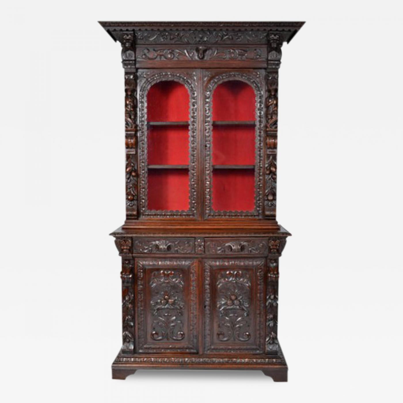 Bookcase Cabinet Antique Henry Ii Bookcase Buffet Display Cabinet
